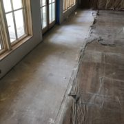 Cleared subfloor for White Oak flooring install and weave-in