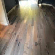 wire brushed hickory hardwood flooring - installed