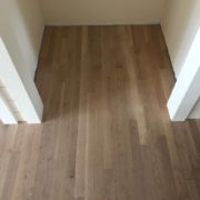 Installed unfinished white oak flooring