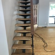 Sanded Southern Yellow Pine plank flooring and White Oak stair treads