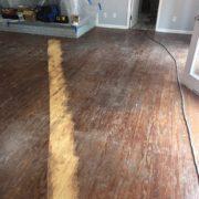 Sanding Southern Yellow Pine plank flooring