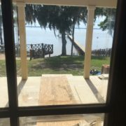View of the river through back window of project home and new extension.