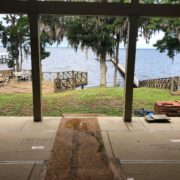 View of the river through new project home extension.