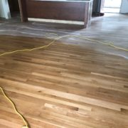 Buffing finish on white oak flooring