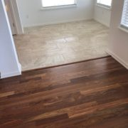 Caribbean rosewood flooring and Emser tiled dining room