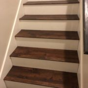 Luxury vinyl plank staircase