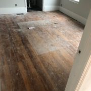 Heart pine plank flooring, prior to refinishing
