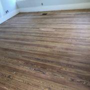 Sanded heart pine plank flooring