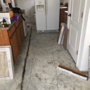 Preparing to install Emser porcelain floor tile - kitchen