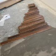 Preparing to install Caribbean rosewood flooring