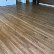 Sanded and finished, quarter sawn select white oak flooring