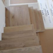 Engineered White Oak flooring stair treads, installed