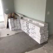 Boxes of White Oak flooring on leveled subfloor