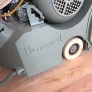 Our Lagler-Hummel belt sander, sanding the Red Oak floors.