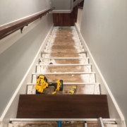 Starting to install Brazilian Cherry stair treads