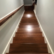 Finished installation of Brazilian Cherry staircase