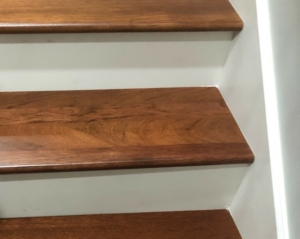 Brazilian Cherry stair treads with white risers