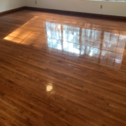 "Stained and finished 1 1/2"" wide Red Oak flooring"