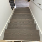 Installing gray Oak stair treads w/ template