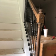 Newel post and handrail will be refinished