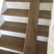 Checking match stained Oak stair treads to White Oak flooring