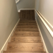 Oak look LVP stairway installed