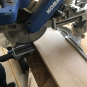 Cutting planks while installing French Oak flooring