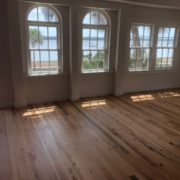 Finished heart pine flooring