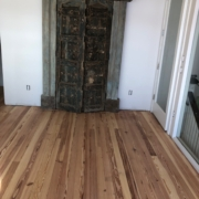 Sanded heart pine flooring