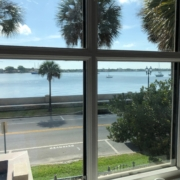 View of St. Augustine harbor during break from Sanding heart pine flooring