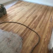 Sanding heart pine flooring