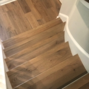 French Oak plank flooring stairway
