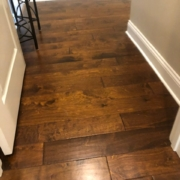 Installed birch hardwood flooring