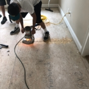 Leveling plywood by sanding edges
