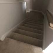 Old carpeting - to be removed from stairway