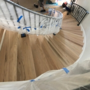Sanded, hand scraped Oak stair treads.