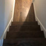 Stained and finished Oak flooring and stairs.