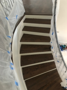 Stained and finished Oak stair treads.
