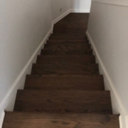 Stained and finished Oak stair treads and flooring.