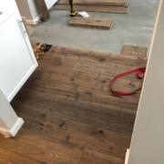 Hickory hardwood flooring installation.