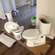 Pedestal sink and toilet removed.