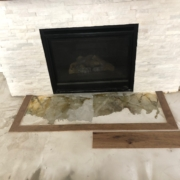 Picture frame fireplace hearth.