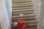 Staining solid Oak stairs.