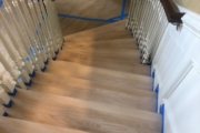 Masking for painting the staircase.