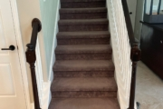 Carpet covered stairway - before.