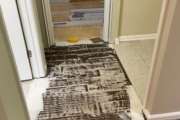 Feathered adhesive at doorway.